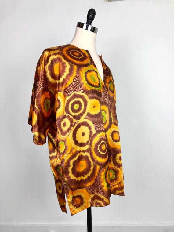 FABULOUS 1970s Dyed Satin Tunic XL