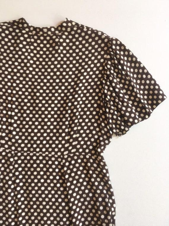 KILLER 1940s Brown Polka Dot Cold Rayon Dress M L - image 8