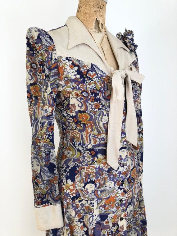 1960's Psychedelic Novelty Girl Print Dress S - image 1