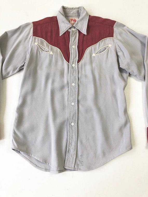 KILLER 1940's Prior Gabardine Western Shirt S - image 3