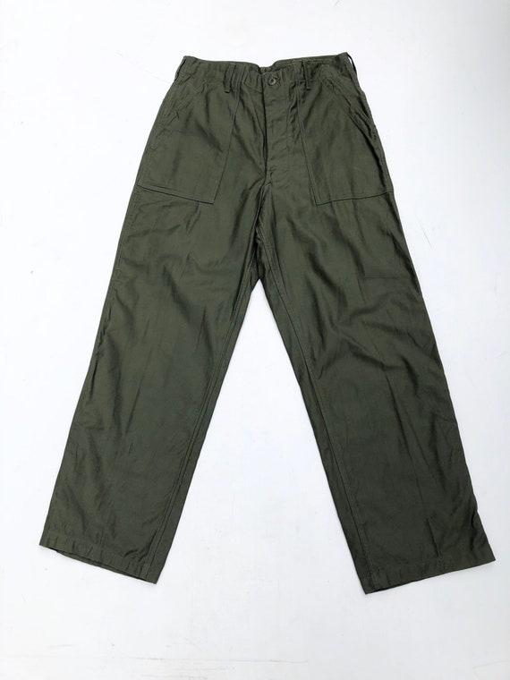 "1970s Army OG-107 Sateen Trousers 28"""