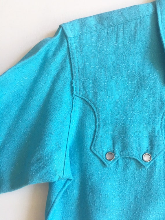 1950s Miller Western Wear Turquoise Cotton Wester… - image 6