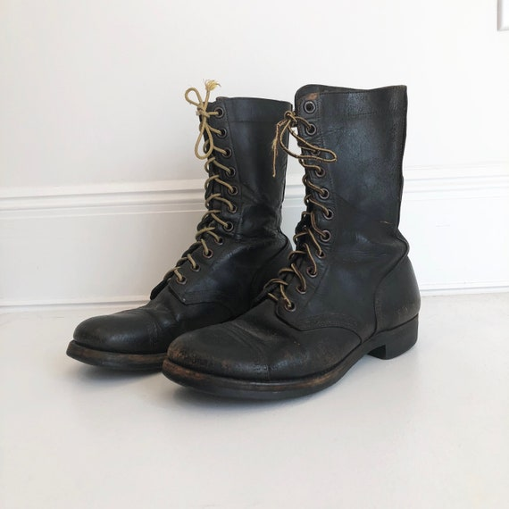 1940s Black Leather Military Lace Up Boots 8.5 D