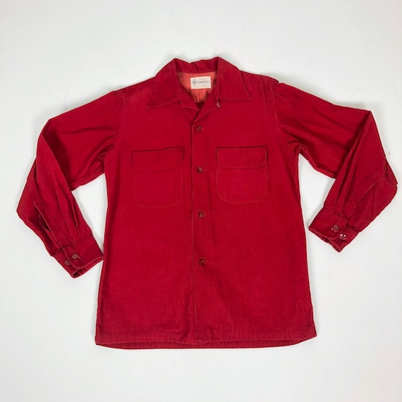 1950s Penny's Towncraft Red Corduroy Loop Collar S