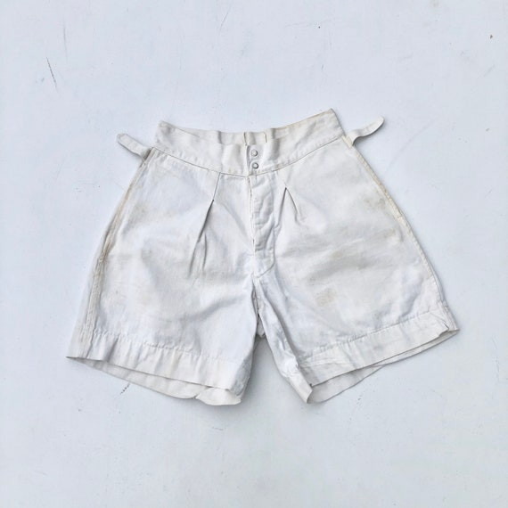 1940s White Cotton Uniform Gym Shorts 26""