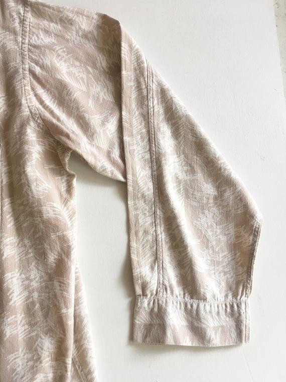 1940s Abstract Print Linen Men's Shirt XL - image 6