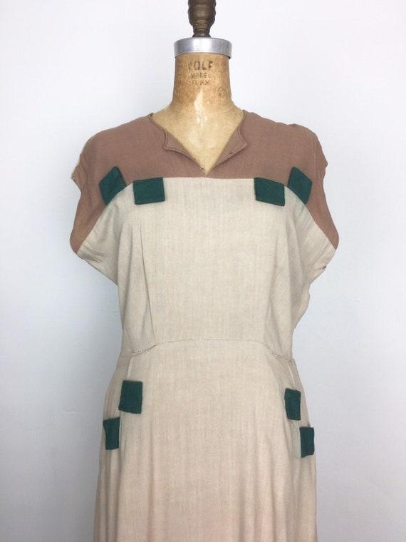 Fabulous 1940s Applique Rayon Dress M
