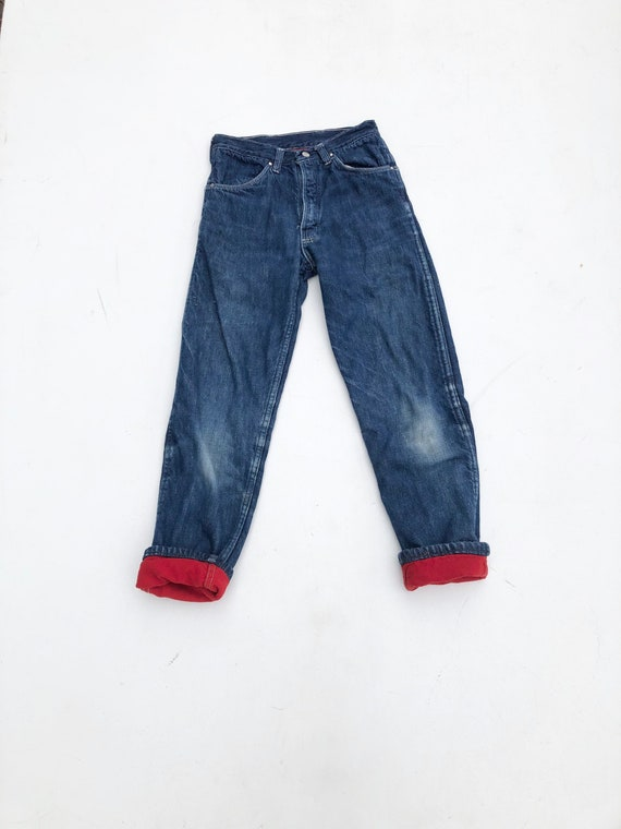 1950s Kids Flannel Lined Blue Jeans 23""