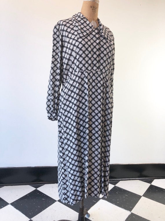 AMAZING 1940's Black and White Plaid Cold Rayon Dr