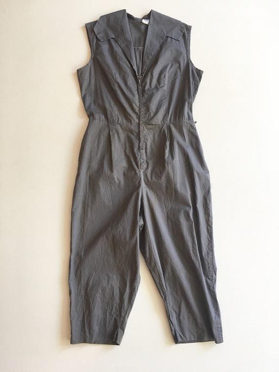 Fabulous 1950s Grey Cotton Jumpsuit M