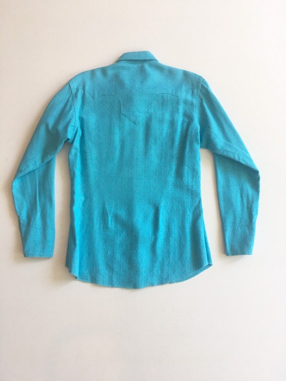 1950s Miller Western Wear Turquoise Cotton Wester… - image 9