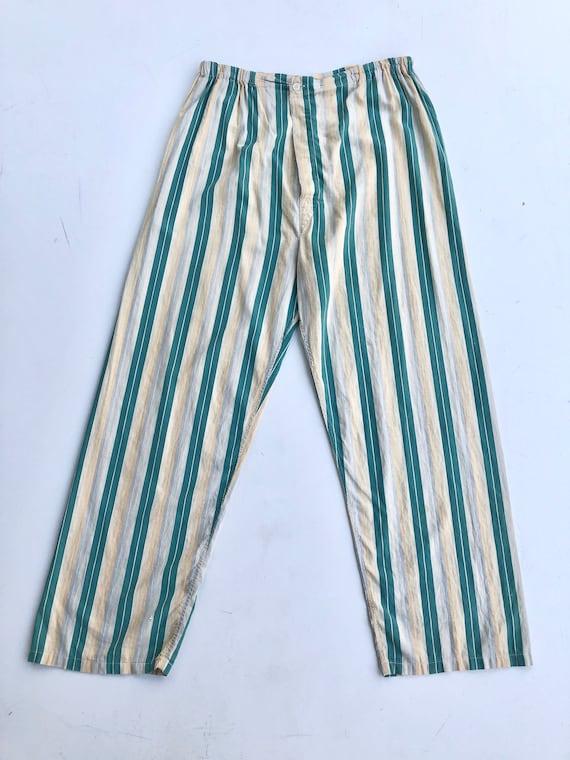 "1930's Striped Cotton Pajama Pants 32"""