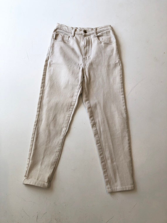1980s Jordache Ivory Denim High Rise Stretch Jeans