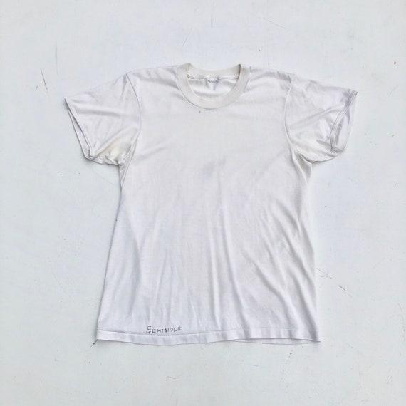 1960s Nylon Knit White Tshirt S