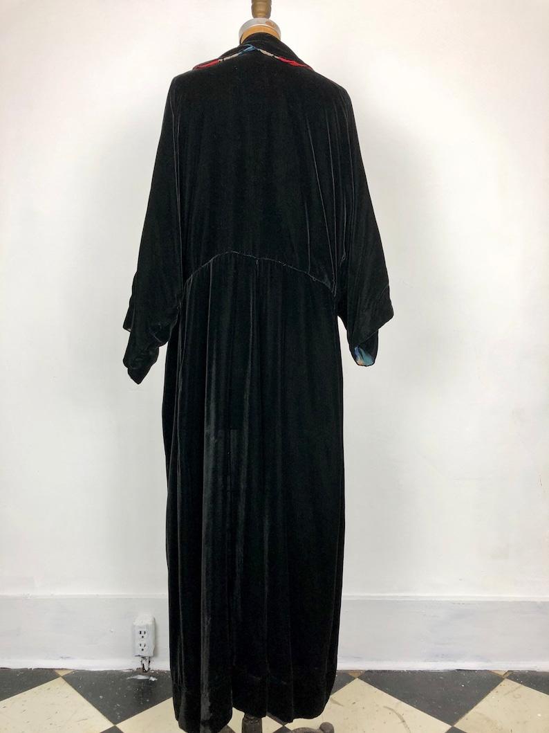 1920s Black Silk Velvet Striped SIlk Duster Coat  S