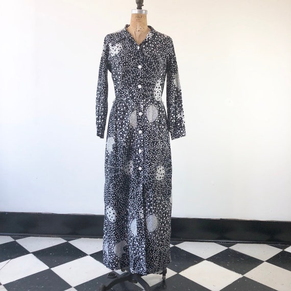 FAB 1960's Black and White Print Psychedelic Maxi