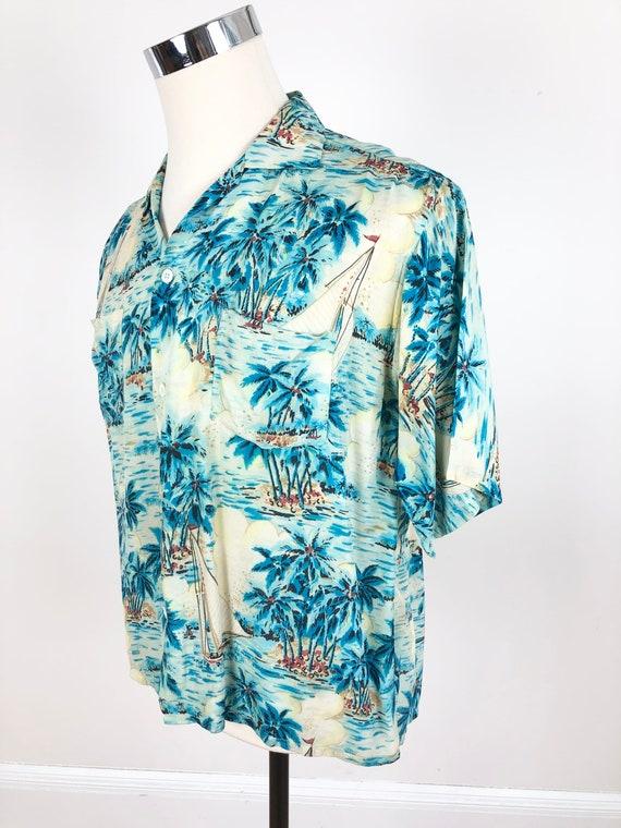 1960s Blue Rayon Paradise Island Hawaiian Aloha S… - image 2
