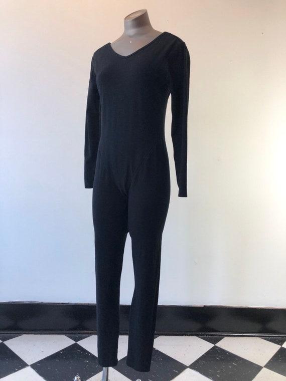 HOT 1990s Organic Cotton Black Knit Catsuit M