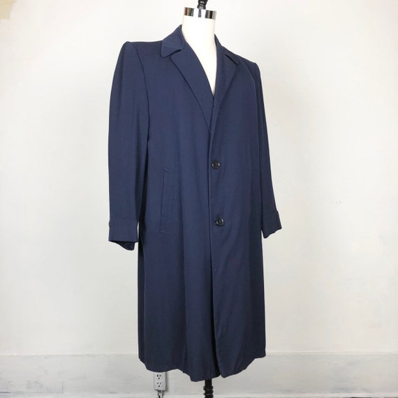 1940s Navy Worsted Gabardine Overcoat XL