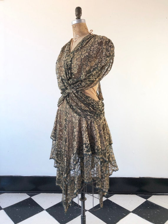 SEXY 1980's Climax Gold Lace Draped Tiered Dress S
