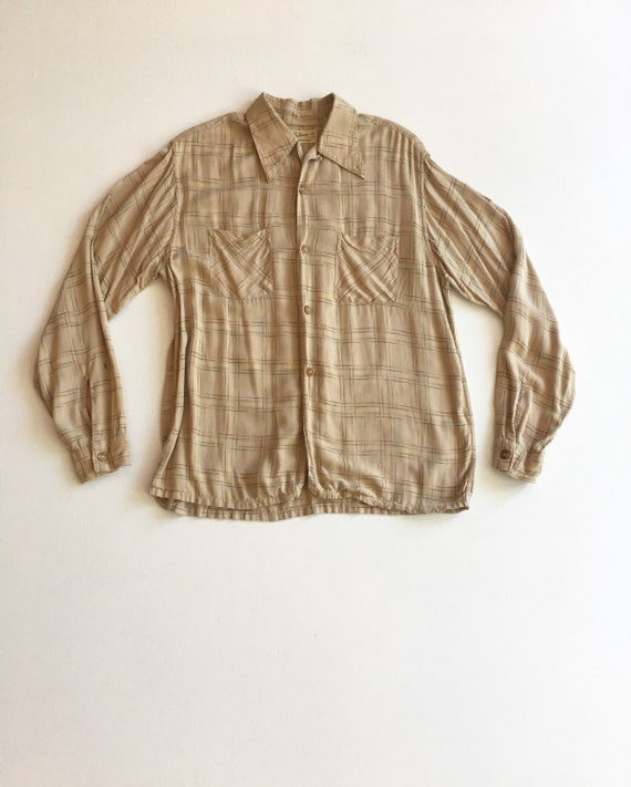 KILLER 1940s Plaid Rayon Shirt M