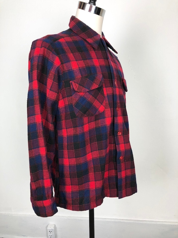 1950s Pendleton Red Plaid Wool Flannel Shirt L