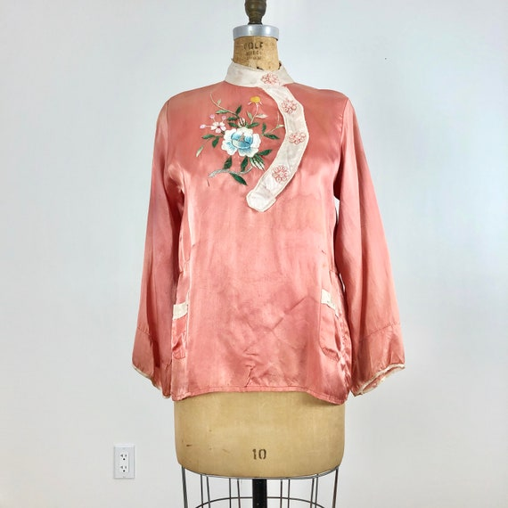 1940's Embroidered Souvenir Pajama Blouse S