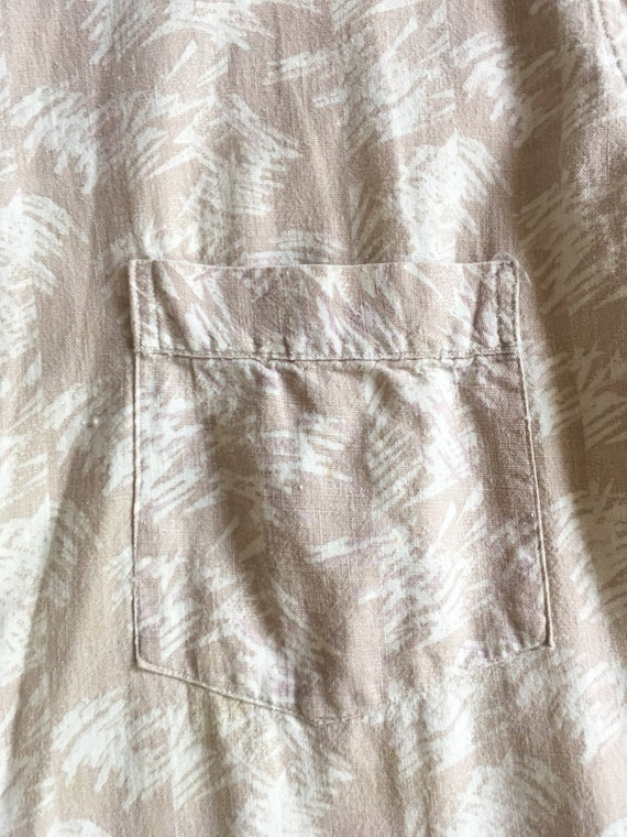 1940s Abstract Print Linen Men's Shirt XL - image 4