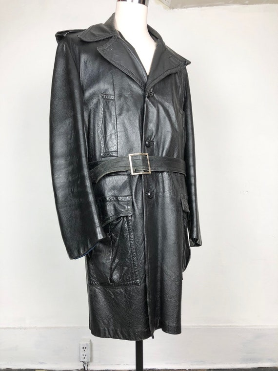 70s Black Leather Belted Trench Coat XL - image 3