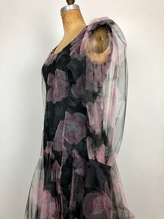 FABULOUS 1980s Holly Harp Floral Tulle Overlay 30s