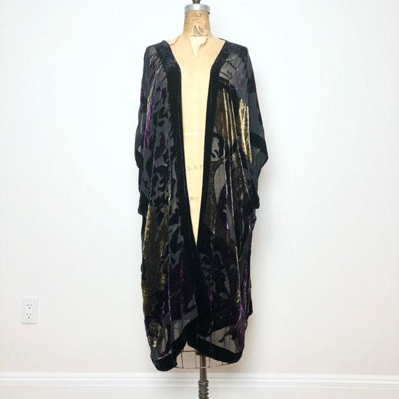 1970s Burnout Velvet Sheer Robe Duster M L - image 3