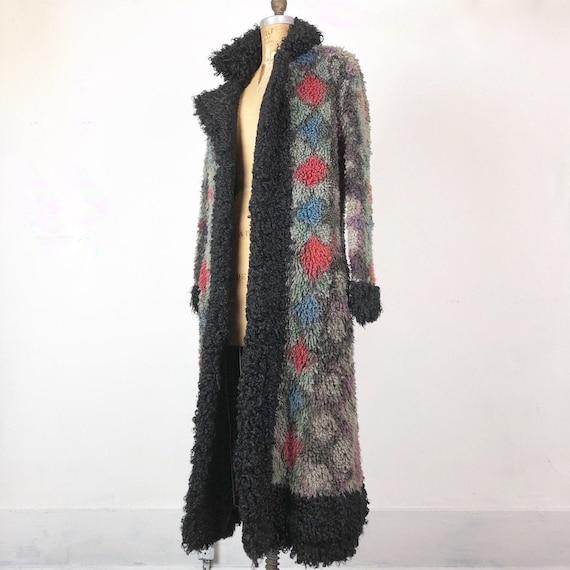 INCREDIBLE 70s Multi Color Curly Lamb Maxi Coat S