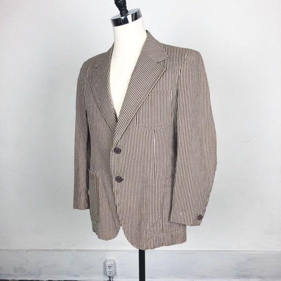 1960s Brown Seersucker Blazer M