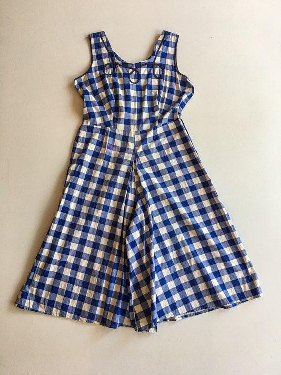 ADORABLE 50s Blue Gingham Cotton Romper M