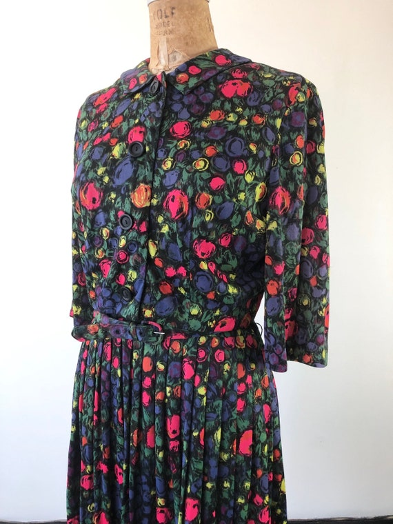 CUTE 1960s Floral Belted Two Piece Dress Set M - image 5