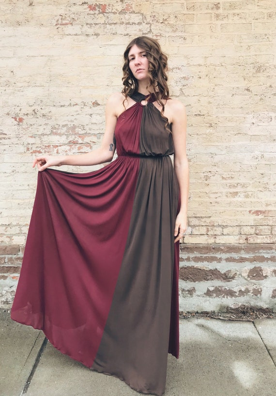 Epic 70s Dior For Saks Fifth Avenue Two Toned Gown Maxi Etsy