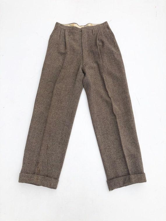 1940s Brown Wool Herringbone Tweed Pleated Trouser