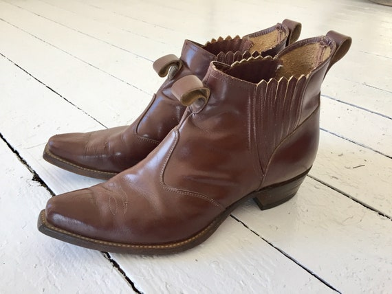 Dream 1940's Men's Brown Western Ankle Boots sz 10