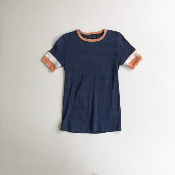 1960's Blue and Orange Cotton Ringer Tee T Shirt S
