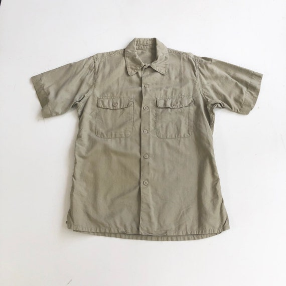 1960's US Military Khaki Cotton Short Sleeve Shirt