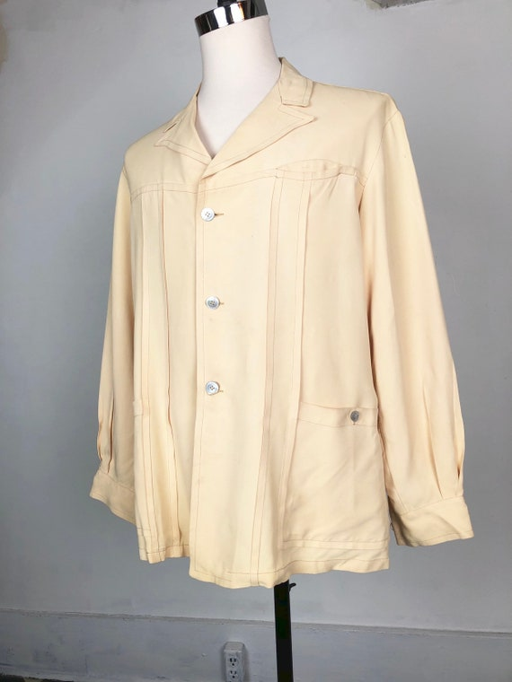 KILLER! 1940s Royal Palm Ivory Cold Rayon Jacket L