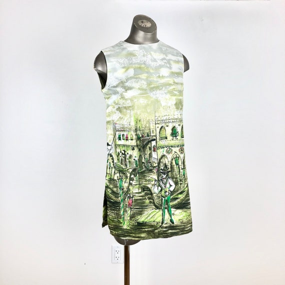 CUTE 1960's Venetian Print Mini Dress Tunic S