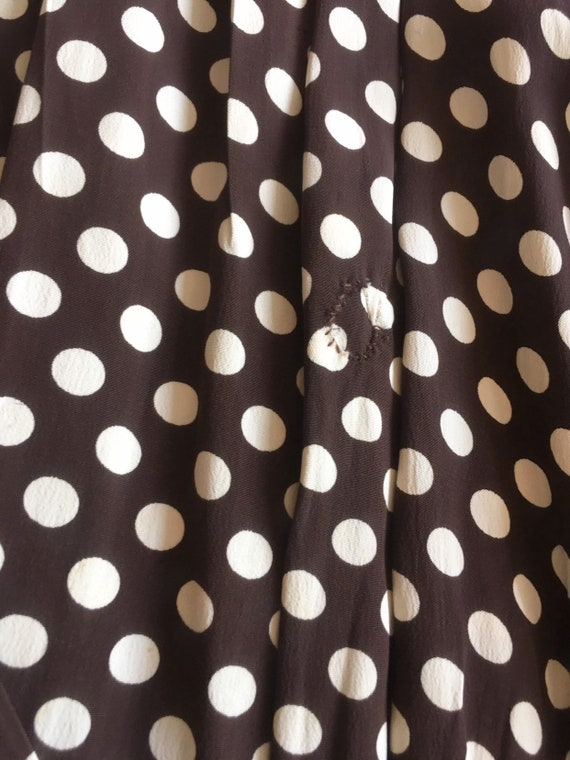 KILLER 1940s Brown Polka Dot Cold Rayon Dress M L - image 9