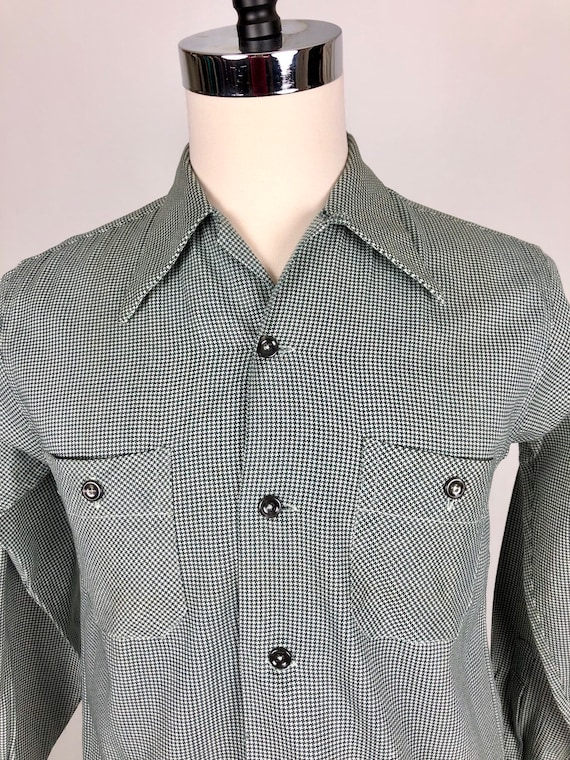 1950s Houndstooth Dunhill Cotton Loop Collar Shir… - image 6