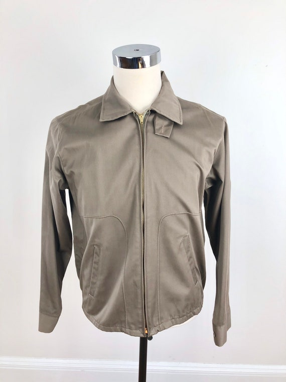 1950s Taupe Grey Cotton Zip Up Ricky Jacket M - image 4