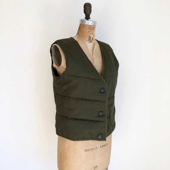 1990s Quilted Green Cotton Vest M