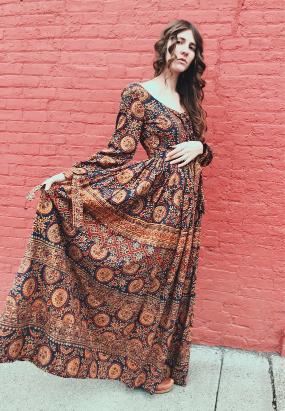 70's Incredible Block Print India Cotton Maxi Dres