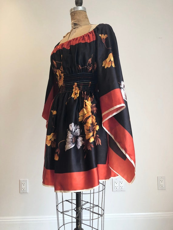 1960s Rayon Floral Scarf Mini Dress S - image 3