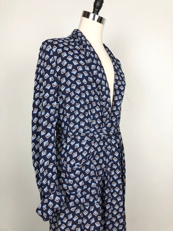 1940s Navy Cold Rayon Print Men's Robe M