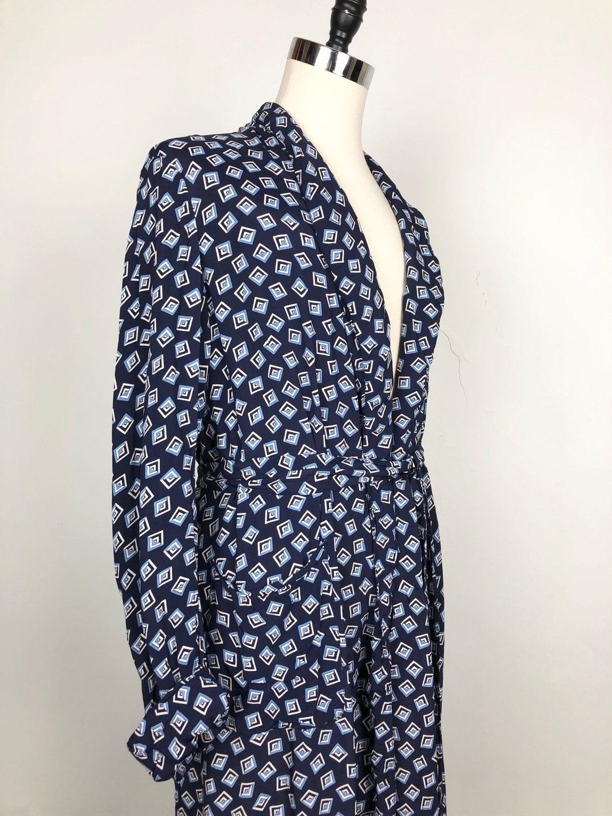 1940s Mens Ties | Wide Ties & Painted Ties 1940S Navy Cold Rayon Print Mens Robe M $30.00 AT vintagedancer.com